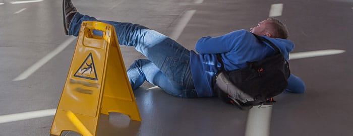 Man on the floor after a slip and fall accident
