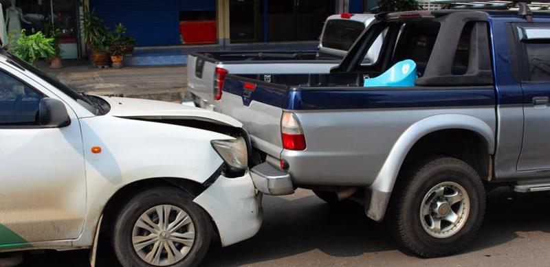 A rear-end accident.