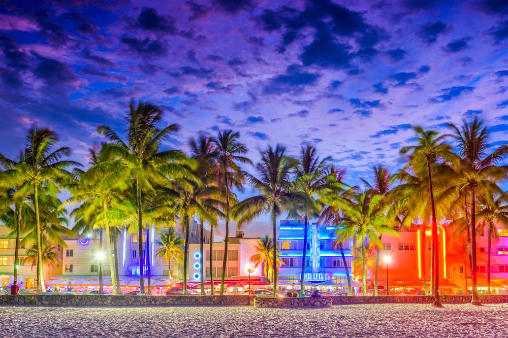This image shows a beach in Miami, FL