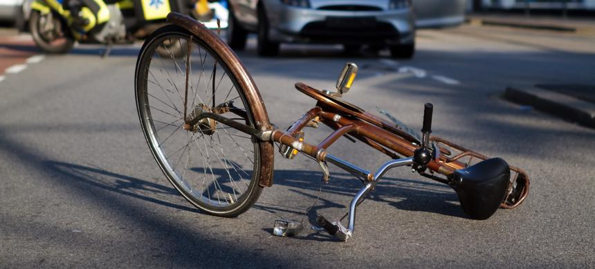 A bicycle lying in the road after an accident in St. Petersburg.