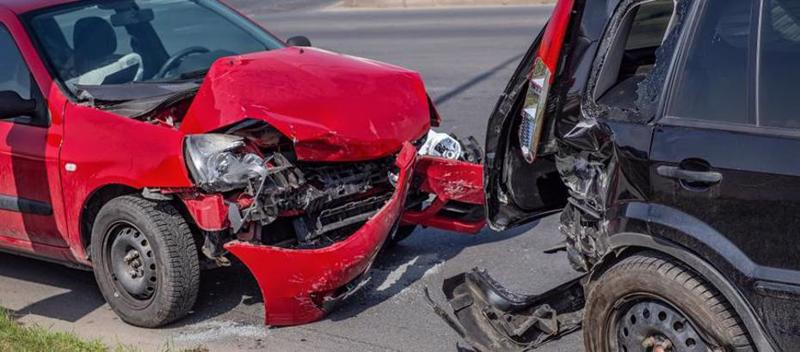 A car accident caused by a distracted driver in St Petersburg.