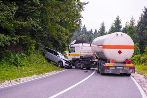 Accident scene with truck and car