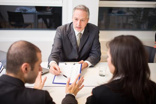 An attorney reviewing a car accident claim.